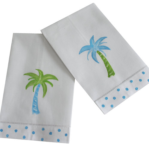 Blue and Green Palm Tree Linen Guest Towels