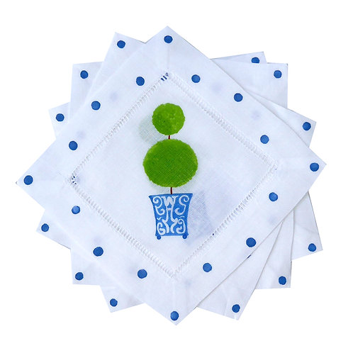 Green Topiary Blue Chinoiserie Cocktail Napkins