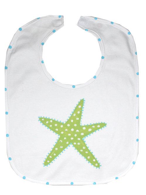 Lime Green Starfish Beach Baby Bib