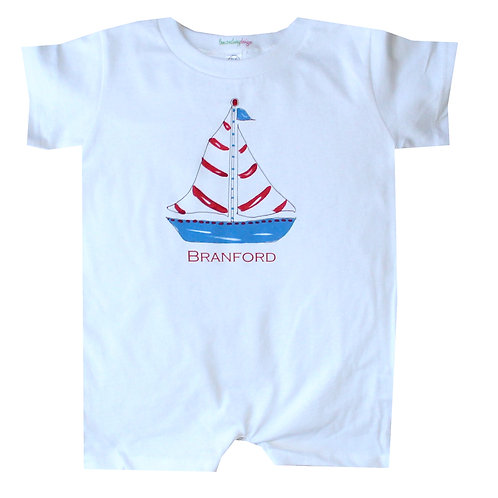Nautical Red White Blue Sailboat Baby Romper