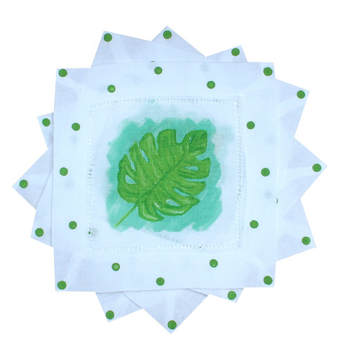 Green and Turquoise Tropical Monstera Leaf Cocktail Napkins
