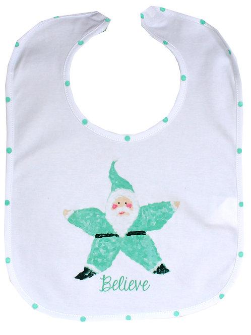 Believe Turquoise Starfish Santa Baby Bib