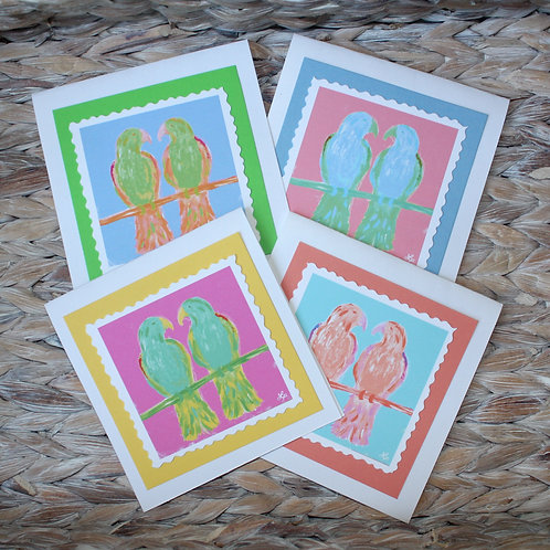 Colorful Love Birds Note Card Set