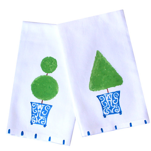 Blue Chinoiserie Topiary Cotton Kitchen Towel