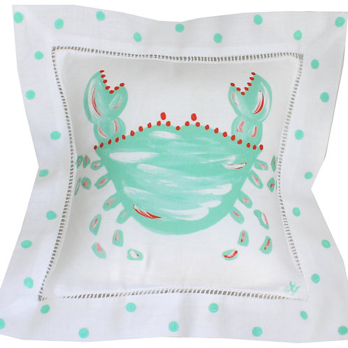 Mint Turquoise  Crab Linen Pillow