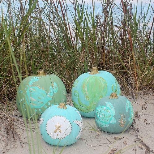 Small Coastal Painted Pumpkins