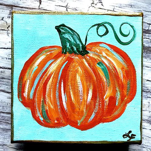 Turquoise Pumpkin Original Mini Painting