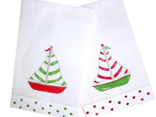 Coastal Christmas Sailboat Linen Guest Towel Set
