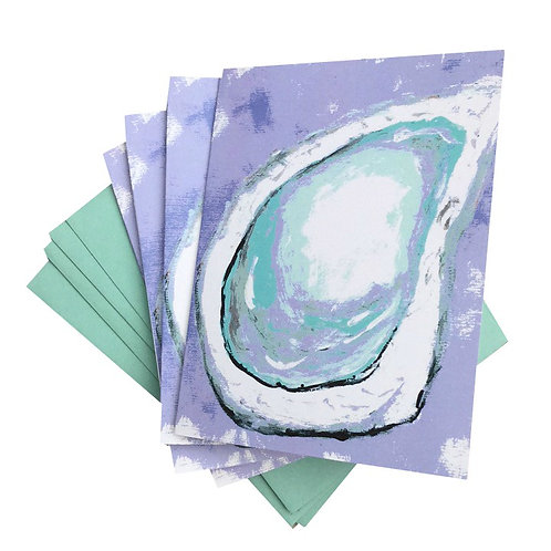 Purple and Turquoise Oyster Note Card Set