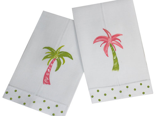 Colorful Palm Tree Linen Guest Towel Set