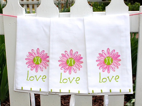 Tennis Love Daisy Tea Towel