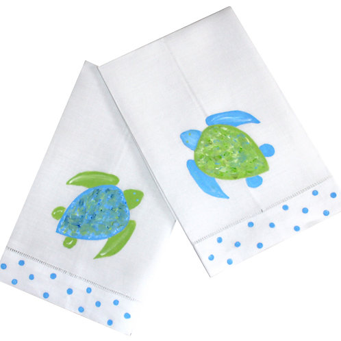 Blue & Green Sea Turtle Linen Guest Towel Set