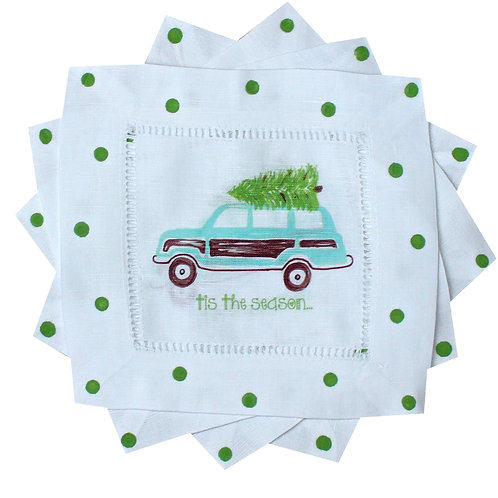 Turquoise Christmas Woody Wagon Linen Cocktail Napkins
