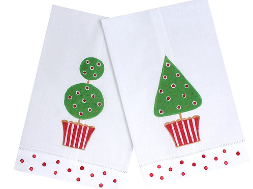 Holiday Topiary Linen Guest Towel