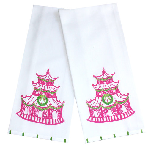 Pink and Green Chinoiserie Christmas Pagoda Tea Towel
