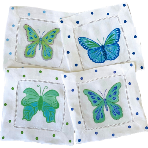 Blue & Green Butterfly Cocktail  Napkins