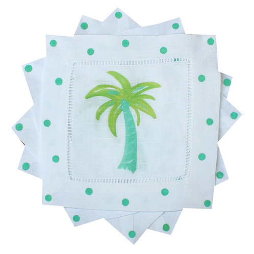 Lime Turquoise Palm Tree Tropical Cocktail Napkins