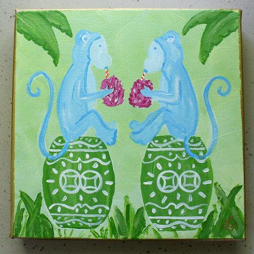 "Blue Monkeys on a Green Chinoiserie Garden Stool  Art 8""x8"""