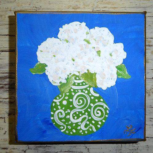 Green Chinoiserie Vase of White Hydrangeas Mini Art