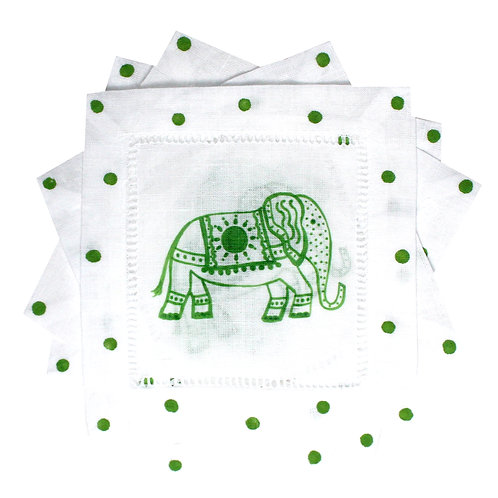 Green and White Elephant Linen Cocktail Napkins