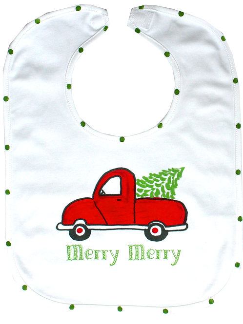 Red Christmas Truck Baby Bib