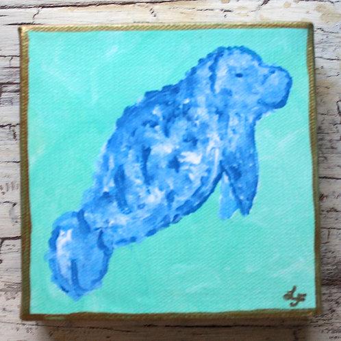 Blue Manatee Original Painting