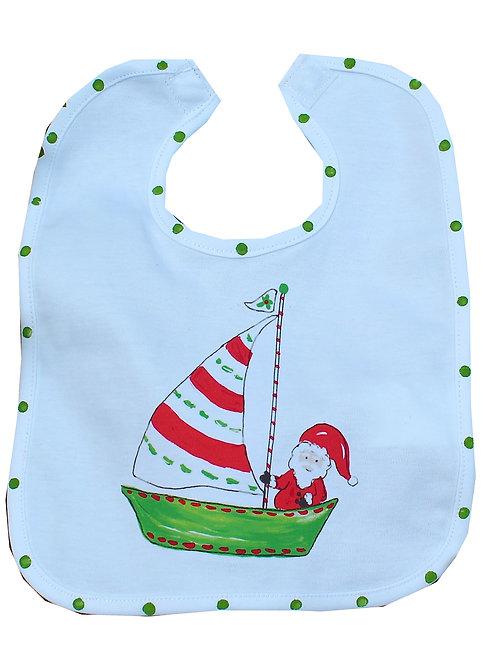 Nautical Santa Sailing Christmas Baby Bib