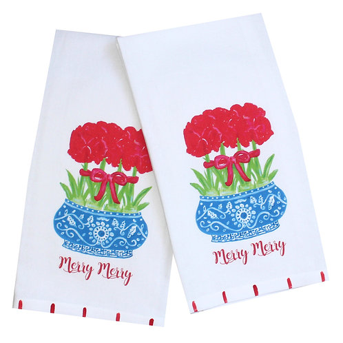 Amaryllis Chinoiserie  Holiday Tea Towel