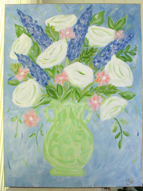 Original Blue & White Floral in Green Vase Acrylic Art