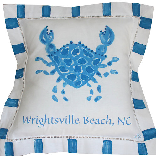 Blue and White Personalized Crab Pillow
