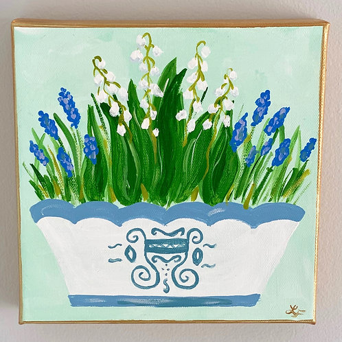 """Lily of the Vally Flowers  Original Art 8""""x8"""""""