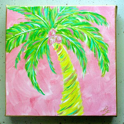 Pink Palm Tree Original Acrylic Painting