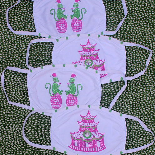 Pink and Green Holiday Cotton Face Masks