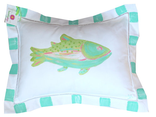 Colorful Turquoise Fish Pillow