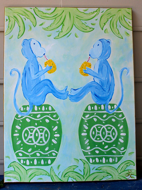 Original Blue Monkeys on Chinoiserie Garden Stool Acrylic Art