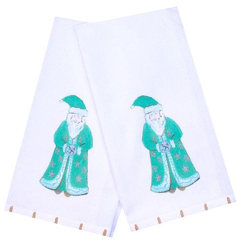 Turquoise Coastal Santa Tea Towel