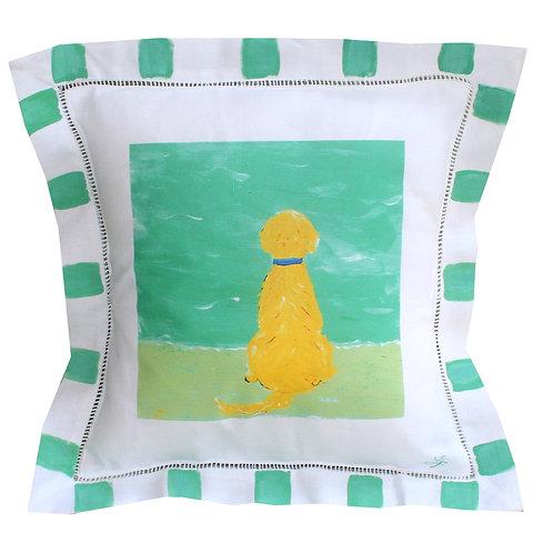 Golden Beach Dog Linen Pillow
