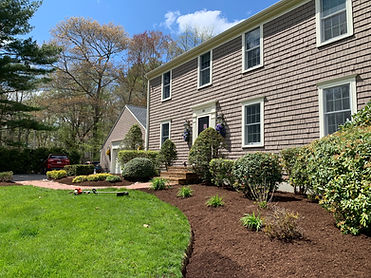 house with fresh mulch