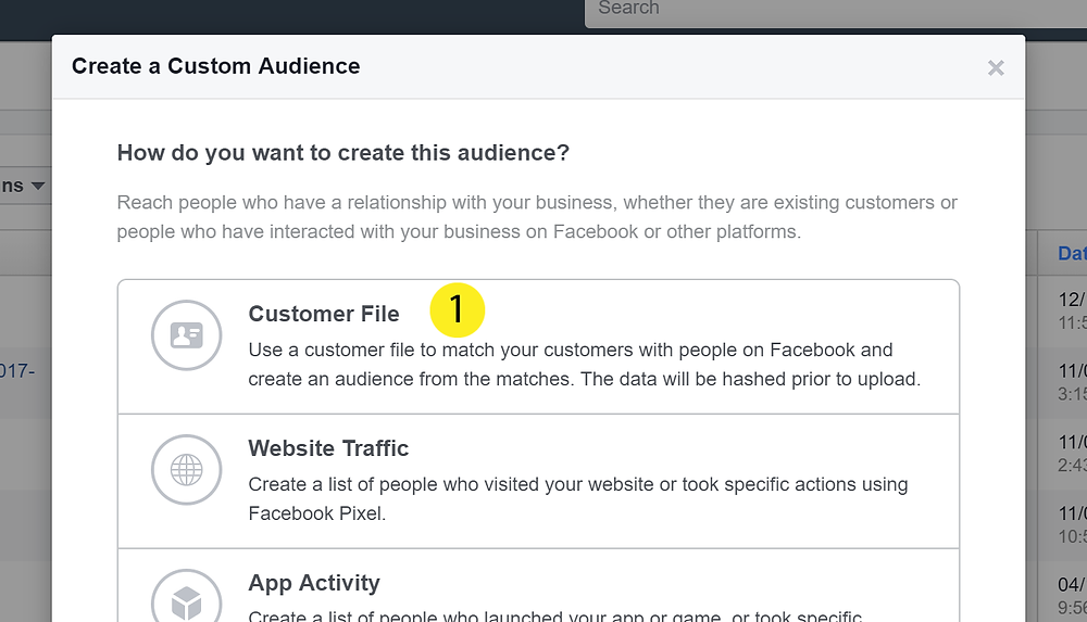 Uploading a Customer file into Facebook Ads Manager