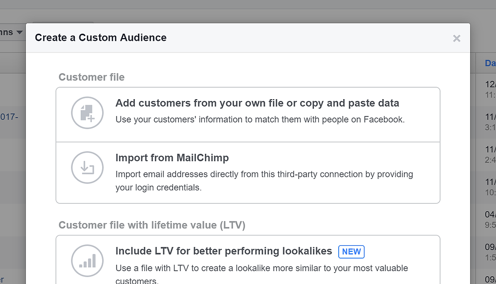 Adding customers for a Custom Audience in Facebook Ads Manager