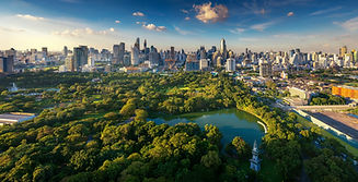 Lumpini park and Bangkok city building v
