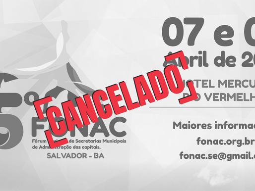 Diretoria do FONAC divulga nota sobre cancelamento do 75º FONAC.