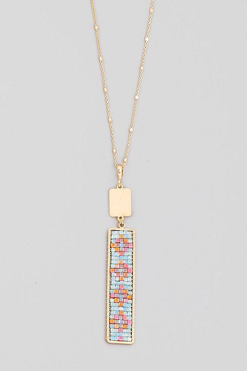 Aqua Glass Beaded Long Necklace