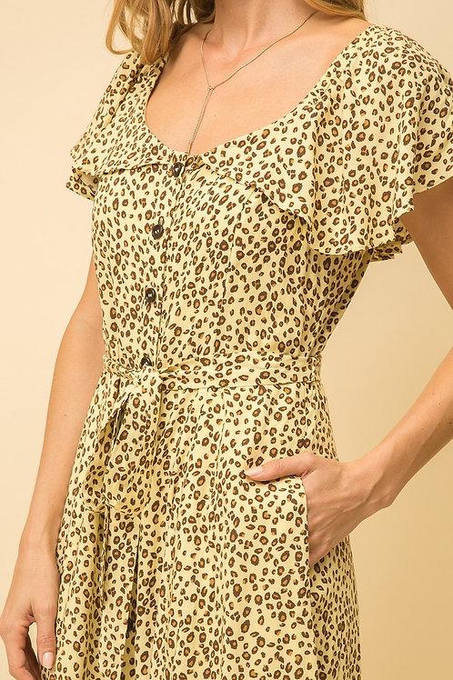 Cheetah Print Button Down Dress