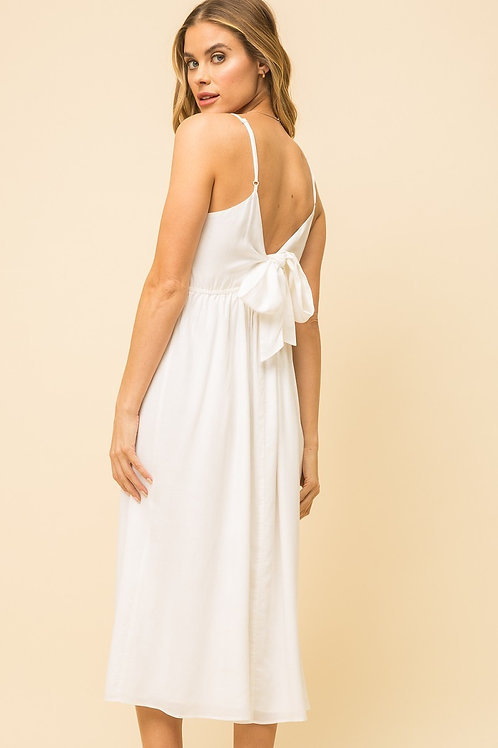 White Tie Back Button Down Dress