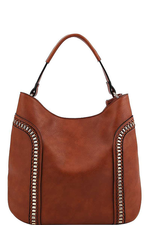 Brown + Gold Hobo Bag
