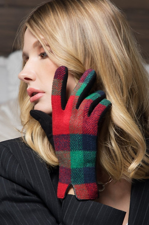 Red & Green Plaid Gloves
