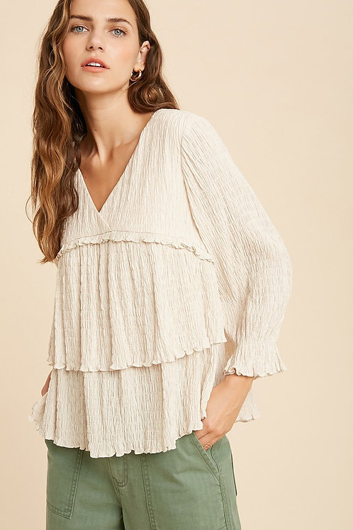 Blush Crinkle Tiered Blouse