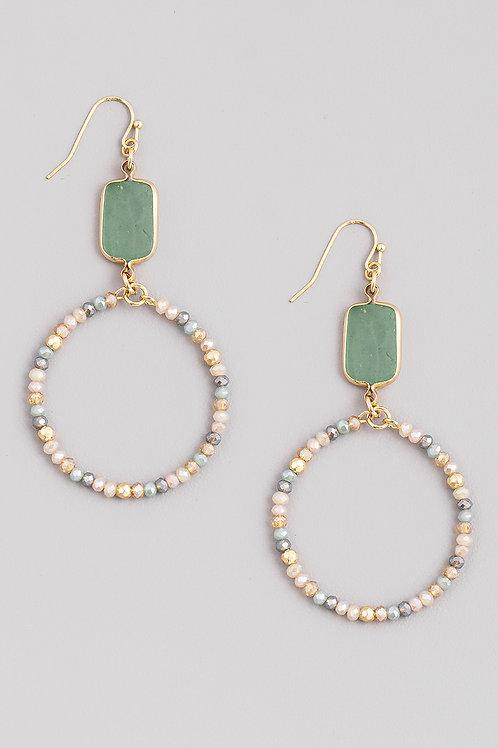 Green Round Beaded Earrings