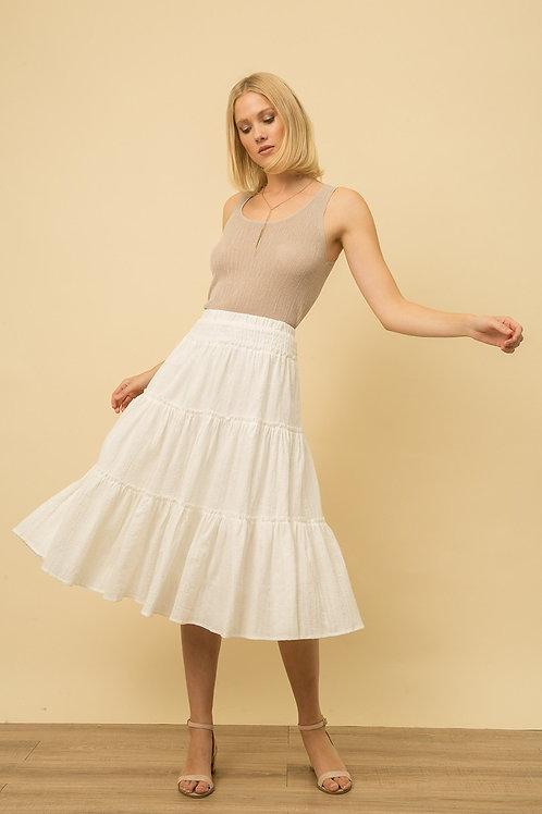 White Tiered Skirt